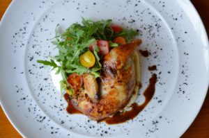 stuffed chicken with wild rucolla salad